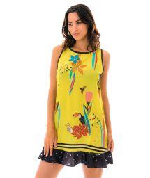 Gul mönstrad kort strandklänning med volang - VESTIDO EDEN