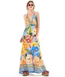 Long open back beach dress in colorful flowers - VESTIDO LONGO DESEJO DE CHITA