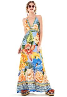Long open back beach dress in colorful flowers - VESTIDO LONGO DESEJO DE CHITA