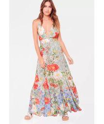 Long vintage flowery fluid beach dress - VESTIDO LONGO LA HAVANA