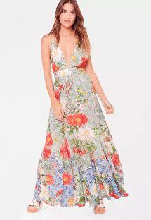 優雅な花柄ビンテージビーチドレス - VESTIDO LONGO LA HAVANA