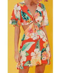 Original beach dress with tropical flowers - VESTIDO MANGA CHITA TROPICAL