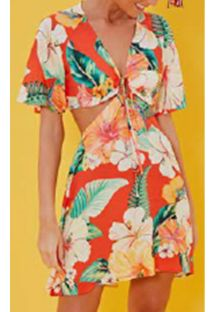 Original beach dress with tropical flowers - VESTIDO MANGA CHITA TROPICAL