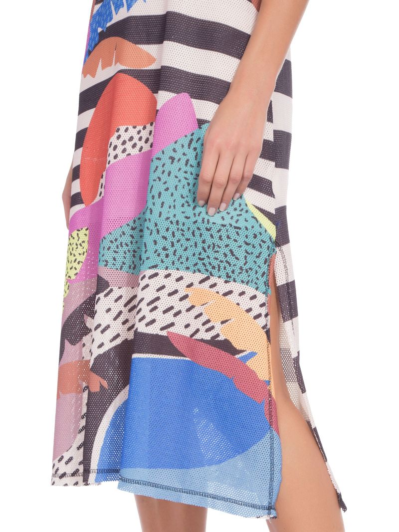 Long sleeveless printed beach dress - VESTIDO TELA TROPICALOCO