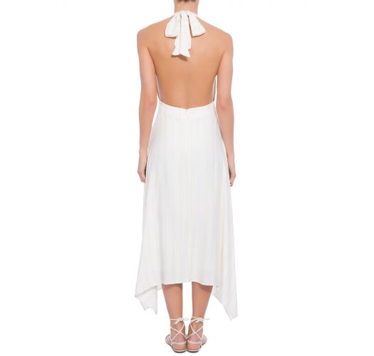 Long ecru beach dress with pinstripes - VESTIDO TRANPASSE BUSTO