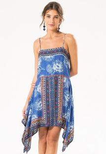 Vestido de playa con estampado mezclas azules - ZEN DRESS