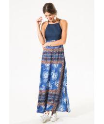 Maxi dress in printed fabric and denim - ZEN LONG DRESS