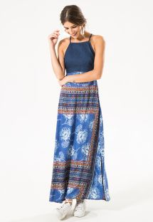 Abito lungo in denim con gonna stampata - ZEN LONG DRESS