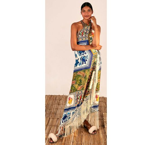 MIXED SCARFS CROSSED FRONT MAXI DRESS