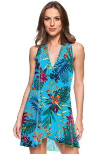 Tropical blue beach mini dress - AGUA SALGADA