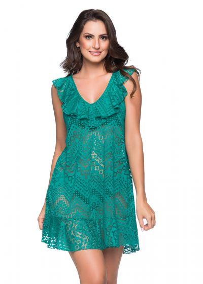 Green beach dress with ruffles and openwork pattern - BABADO CROSSED ARQUIPELAGO