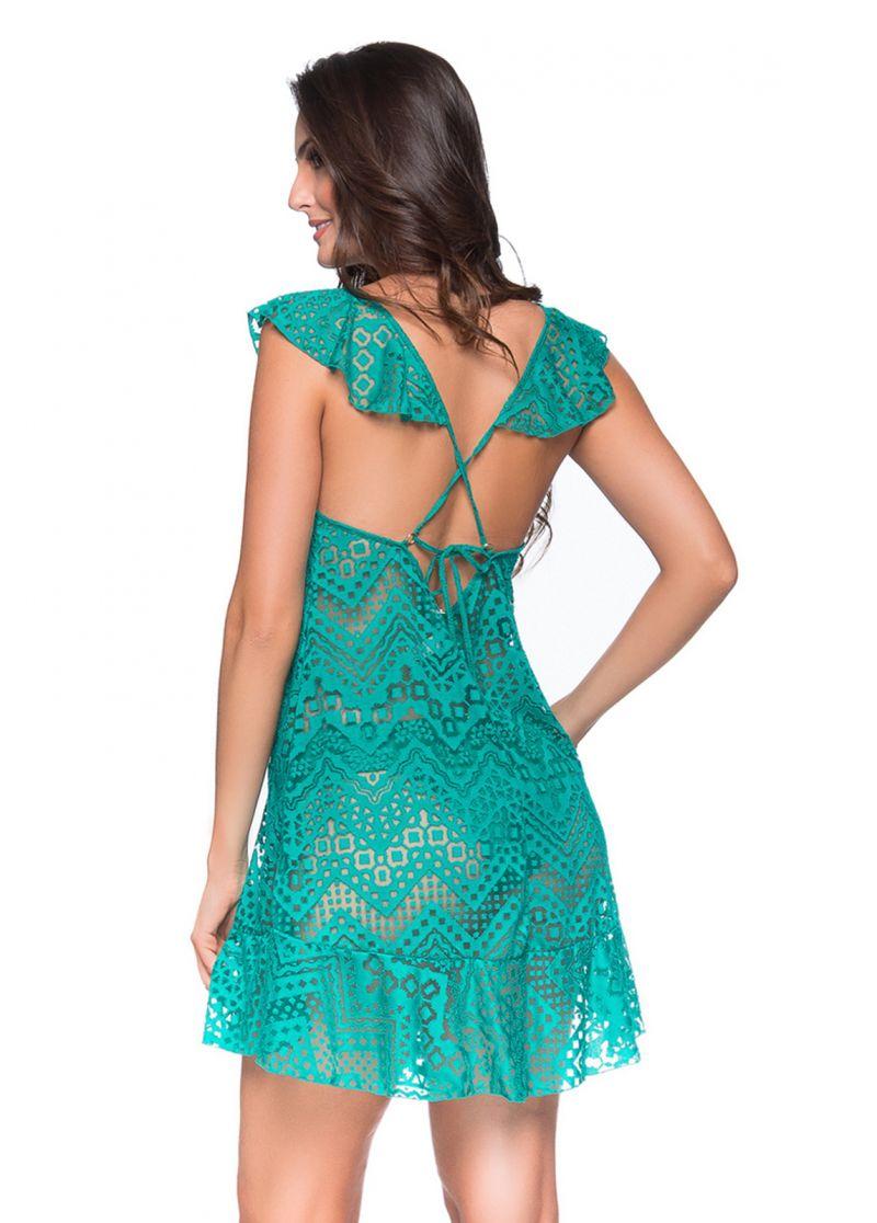 Grön strandklänning med volanger och spets-mönster - BABADO CROSSED ARQUIPELAGO