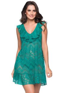 Green beach dress with ruffles and openwork pattern - BABADO CROSSED ARQUIPELAGO
