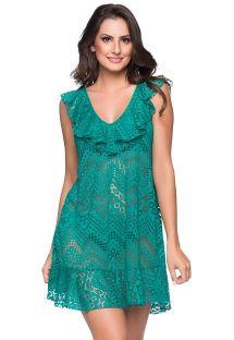 Vestido de praia verde c/ folhos e rendados - BABADO CROSSED ARQUIPELAGO
