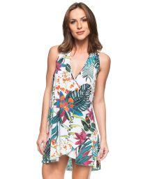 Tropical flower print beach dress - BELEZA DO CARIBE