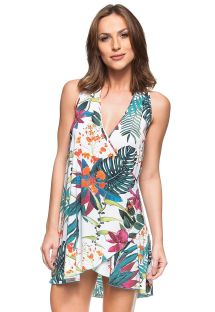 Tropical flower print beach dress - BELEZA DO CARIBE