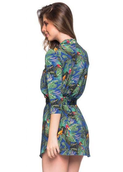 Flerfärgat tropikmönstrad skjortblusklänning med 3/4-ärmar - CHEMISE FAIXA ARARA AZUL