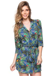Shirt beach dress with 3/4 sleeves - colorful tropical print - CHEMISE FAIXA ARARA AZUL