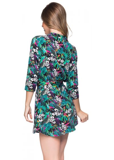 Colorful floral 3/4 sleeve shirt dress - CHEMISE FAIXA ATALAIA