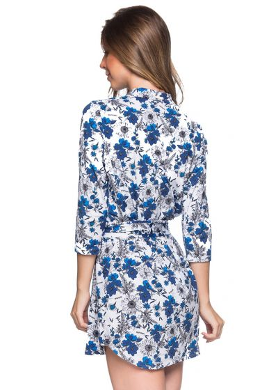 Blaugeblümtes Shirt-Strandkleid, 3/4-Ärmel - CHEMISE FAIXA ATOBA