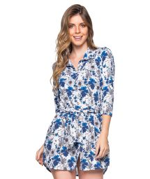 Shirt beach dress with 3/4 sleeves - blue floral print  - CHEMISE FAIXA ATOBA