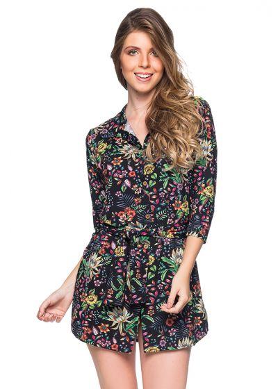 Geblümtes Strand-Shirt-Kleid mit 3/4-Ärmeln - CHEMISE FAIXA DREAM