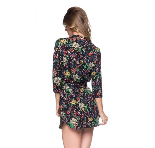 Shirt beach dress with 3/4 sleeves - black floral print - CHEMISE FAIXA DREAM
