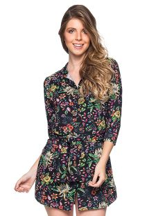 Shirt beach dress with 3/4 sleeves - black floral print - CHEMISE FAIXA DREAM