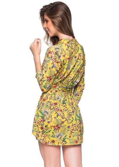 Geblümtes Shirt-Kleid mit 3/4-Ärmeln - CHEMISE FAIXA DREAM AMARELA