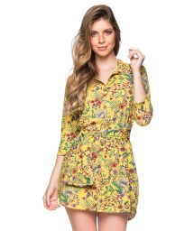 Yellow floral 3/4 sleeve shirt dress - CHEMISE FAIXA DREAM AMARELA
