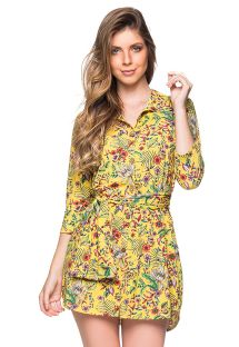 Yellow floral 3/4 sleeve shirt dress - CHEMISE FAIXA DREAM AMARELA