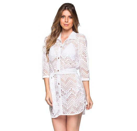 White shirt dress with openwork pattern - DEVORE BRANCO