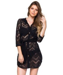 Black shirt beach dress with openwork pattern - DEVORE PRETO