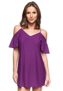Purple off shoulder beach dress with open back - ILHAS TURCAS