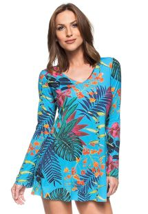 Tropical blue long sleeve beach dress - PLANETA AGUA