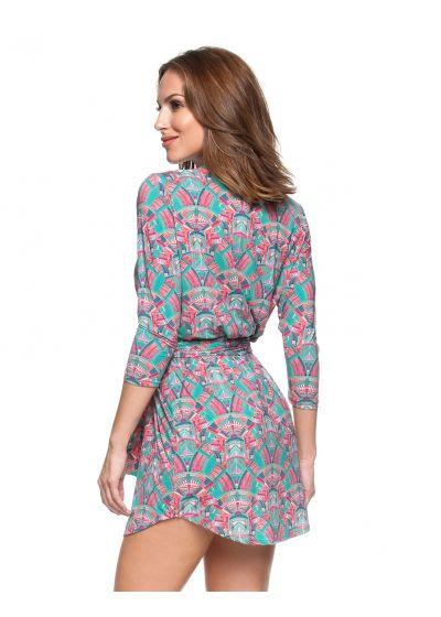 Rosa och grön skjortklänning med långa ärmar - PONTE DE PEDRA