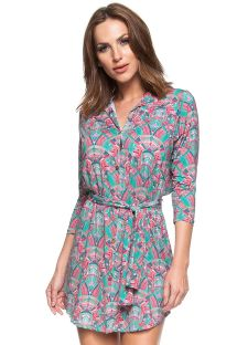 Pink snd green long sleeve shirty dress - PONTE DE PEDRA
