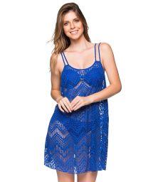 Blå strandklänning med spetsmönster och tunna axelband - REGATA BAIA DO SANCHO