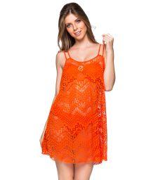 Orange strandklänning med spets mönster - REGATA POR DO SOL