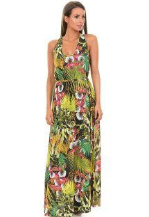 Longue robe de plage verte sans manche, imprimé tropical - SAIDA FOLHAGEM VERDE