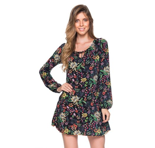 Black floral long sleeve beach dress - TUNICA MANGA LONGA DREAM