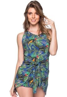 Mini robe de plage à nouer tropical coloré - VESTIDO AMARRACAO ARARA AZUL