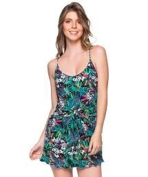 Colorful floral back-tied mini beach dress - VESTIDO AMARRACAO ATALAIA