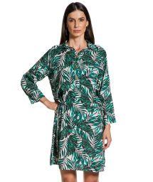 Long-sleeved beach dress with foliage print - CHEMISE FOLHAGENS