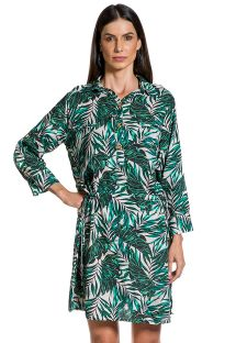 Long-sleeved beach dress with foliage print - CHEMISE FOLHAGENS