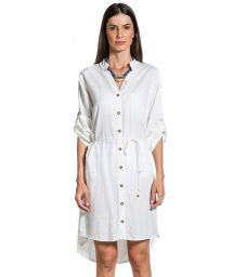 Robe chemise asymétrique blanche carreaux dorés - CHEMISE GOLD BRANCO