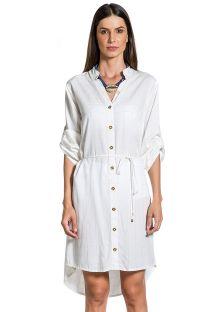 Asymmetrical white check shirt dress - CHEMISE GOLD BRANCO