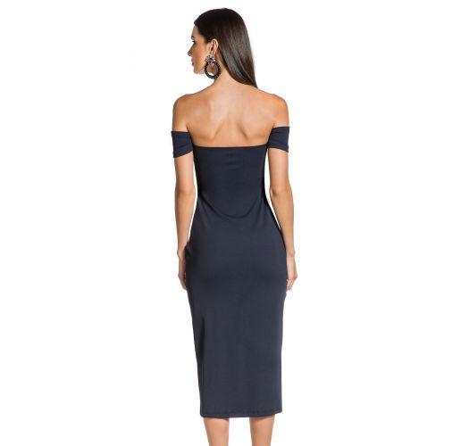 Schwarzes eng anliegendes Kleid, Bardot-Stil - FENDA PRETO