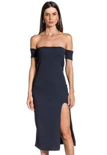 Black slinky dress with Bardot neckline - FENDA PRETO