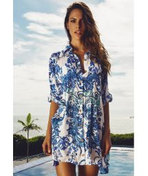 Blue arabesque print shirtdress - MONTESERRAT